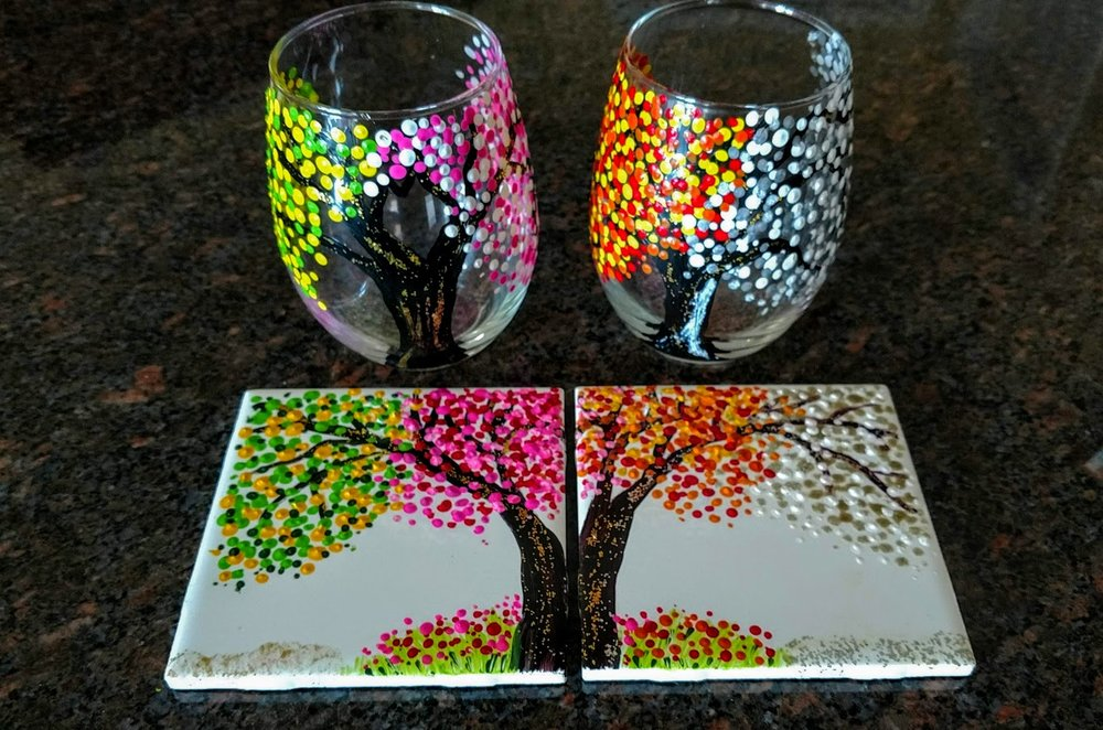 "- ""Four seasons""PAINT 2 glasses & 2 tiles 4/$35 PER ARTIST OR 4 GLASSES $40"