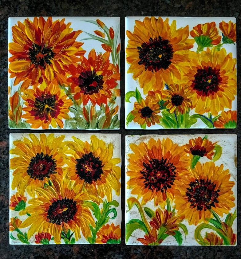 "- ""SUNFLOWERS""PAINT 4/4""X4"" TILES $35"