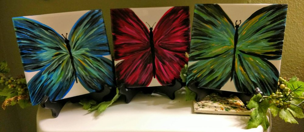 "- ""BEAUTIFUL Butterflies""PAINT 2/6X6"" TILES $35"