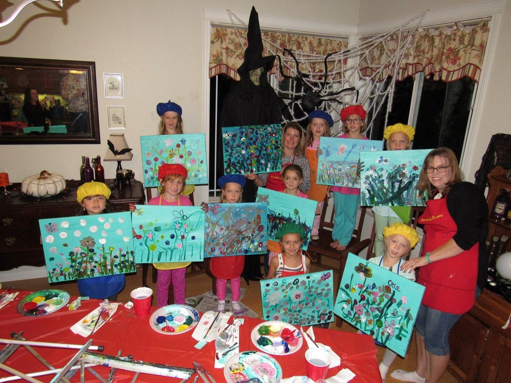 these girl scouts earned their painting badge! - BIRTHDAY'S, CLUBS, KIDS N CANVAS home parties...