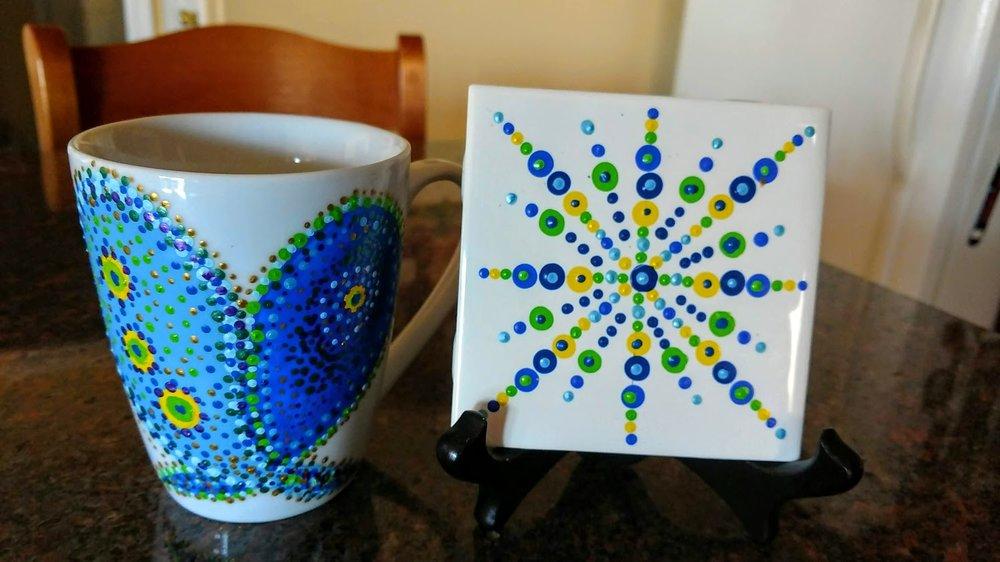 "Paint ""Peacock"" Mandala Coffee Mug & Tile 2/$40 on 4""x""4"" Ceramic Tile.  Top Rack Dishwasher Safe after Heat Set in your oven"