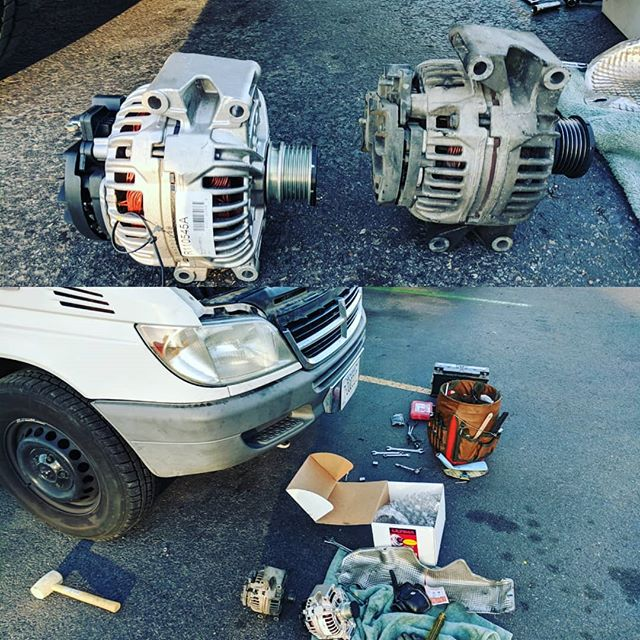 The real #vanlife right here. Broke down on the highway. Thought it was a bad battery turned out to be an old alternator. After 140k miles on it the alternator needed to be replaced. Upgraded from the oem 90 amp to the rebuild 150 amp alternator. It was a few hours at @oreillyautoparts and a few loaner tools (thx!) and I am back on the road.