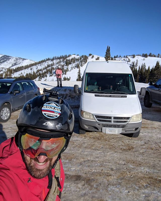 Took the van up to Livingston, MT to visit some friends and spend some quality time cozied up in their little cabin with their wood burning stove.  Then it was off to @powdermountain for a beautiful bluebird day of skiing in Eden, UT.  They only sell 1,500 tickets per day so it allows for some wide open runs.  We parked the van so we could easily ski in and out!