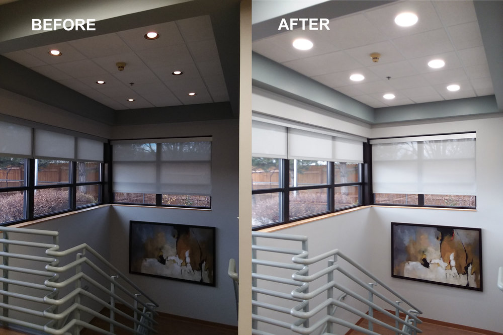 LED downlight application for a stairwell in Denver.