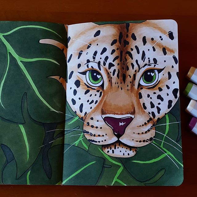 Almost done with @thesketchbookproject sketchbook! This has to be my favorite page so far!  #sbpprocess #brooklynsketchbookproject #sketchbook #leopard #leopards #endangeredspecies #animals #animal #marker #markerart #illustration #illustrator #art #artist #pretty #instaart