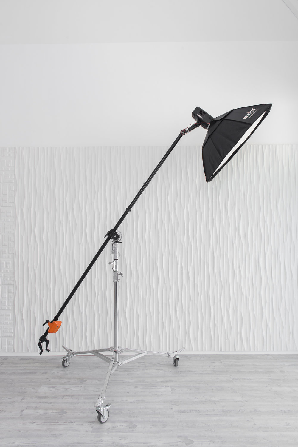 Rolling Overhead Light Stand with Manfrotto Boom Arm