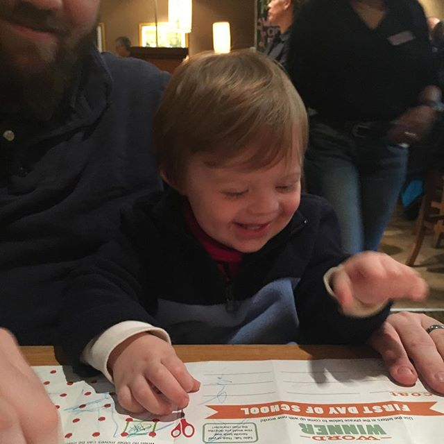 This is Johnny. . He finds unleashed joy in things as small as free crayons at @californiapizzakitchen. . Be like Johnny.