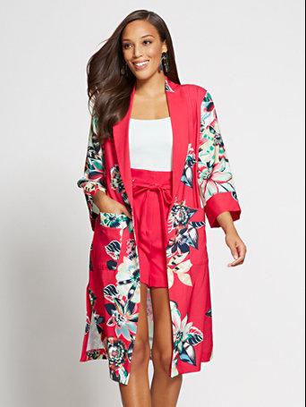 Red Floral Kimono Jacket $69