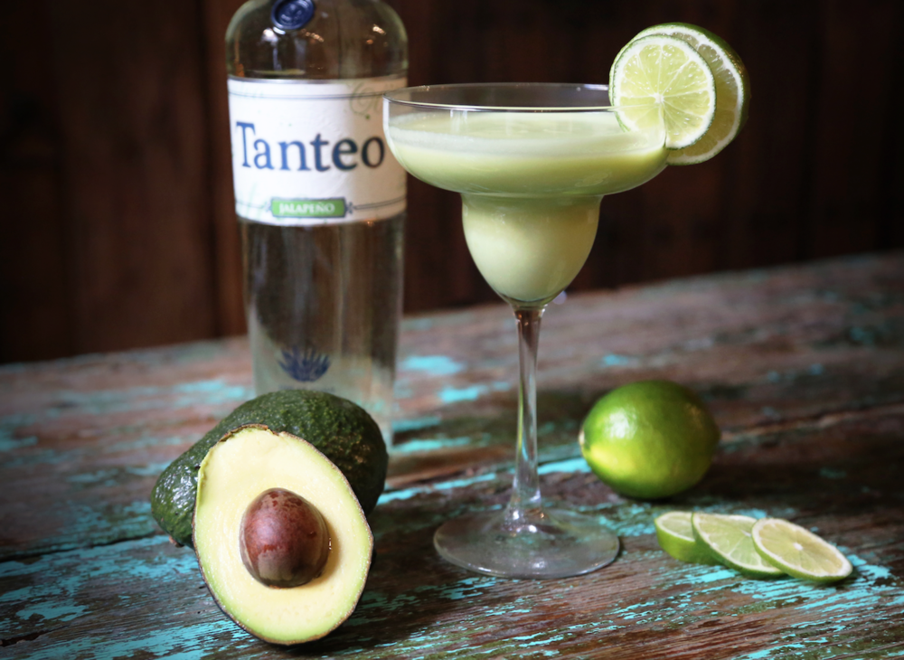 Recipe:   - 2 oz.  Tanteo Jalapeño Tequila   - 1/6 Avocado  - 1 oz. Fresh Lime Juice  - 3/4 oz. Agave Nectar   Directions :  Combine ingredients in a blender, blend well and pour into a margarita glass