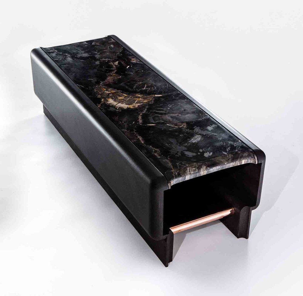 Petrified wood, lavastone and copper bench, designed by Thierry Lemaire for Blanc Carrare