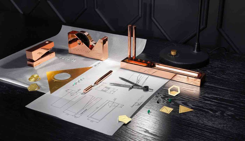 'Cube' copper desk accessories from Tom Dixon (we're hoping they'll eventually make these in Brass!)