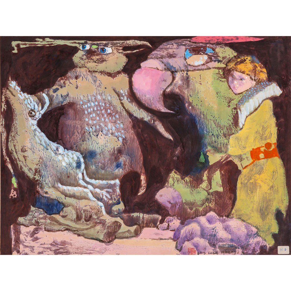 - Luis ChanUntitled (Goldenhaired Girl with Bird and Beasts)1964-1971Acrylic on paper45 x 59 cmUniqueGenerously donated by Red Rock Studio