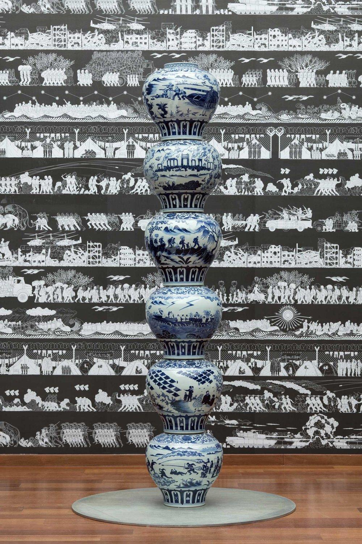 Vases with Refugee Motif as a Pillar  (2017) Ai Weiwei