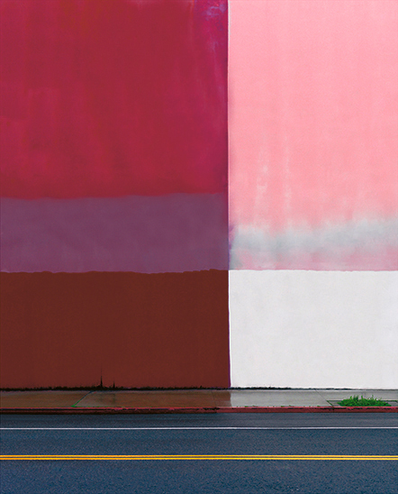 E. 6th Street , 170cm x 140cm, Archival Pigment Print, 2017  This image is perhaps the most representative of Kim Woo Young's works. The colour covering the wall surface and lines connecting the street are the focus of an unexpected aesthetic consequence that empowers his photographs.
