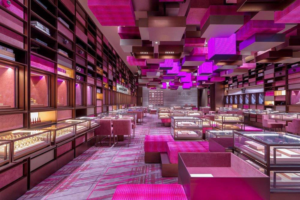 Chow Tai Fook YOHO Mall experience shop, Hong Kong. Image by Jonathan Leijonhufvud