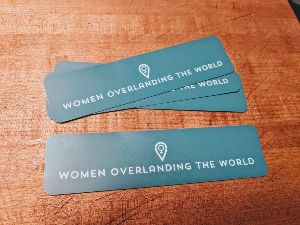 "Stickers - Women Overlanding the WorldHigh quality, outdoor-rated decal 5.5"" x 1.5"""