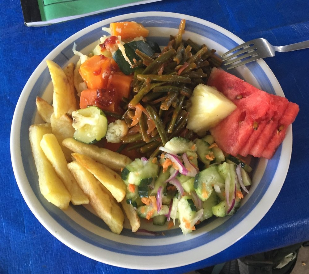 A typical meal provided by our program. These meals were cooked by local chefs that traveled with use when you did field studies.