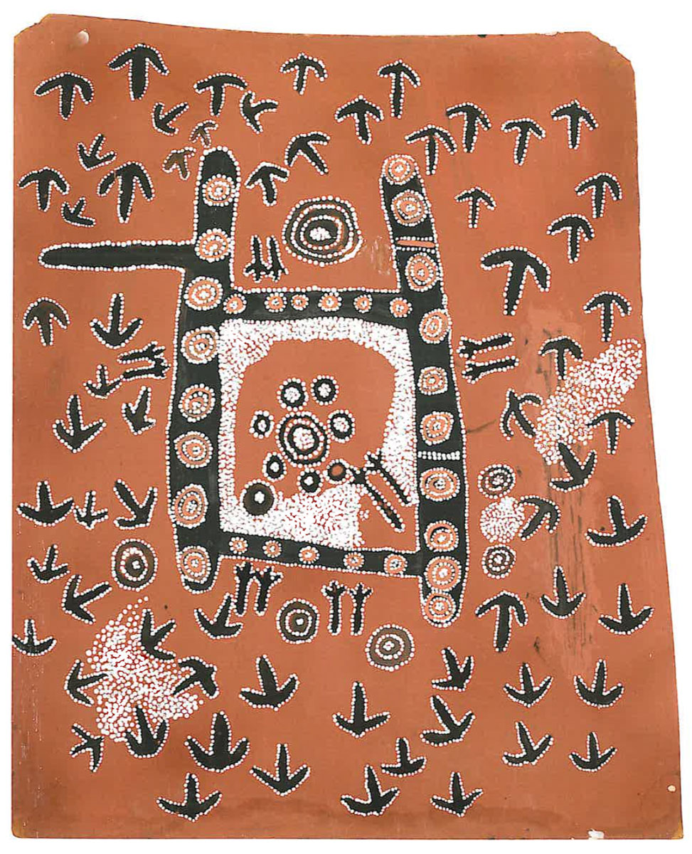 Emu Dreaming , 1972   Synthetic polymer paint on composition board 60 x 40cm   Provenance:  Painted at Papunya in 1972 Painting 11 in consignment 19 to the Stuart Art Centre, Alice Springs Tim Guthrie, Melbourne Sotheby's,  Important Aboriginal Art , Melbourne, 30 June 1997, lot 18 Private collection, Sydney   Exhibited:   Tjukurrtjanu: Origins of Western Desert Art , The Ian Potter Centre: NGV Australia, Melbourne, 30 September 2011 - 12 February 2012  Aux Sources de la Peinture: Aborigene , Musee du quai Branly, Paris, 9 October 2012 - 20 January 2013   Literature:  Sotheby's,  Important Aboriginal Art , Melbourne, 30 June 1997, lot 18, p.20 (illus.). Geoffrey Bardon, and James Bardon,  Papunya, A Place Made After the Story: The Beginnings of the Western Desert Painting Movement , Melbourne: The Miegunyah Press, 2004, p.350, ptg.300 (Attributed: Emu Spirit Dreaming with Home). Judith Ryan, Philip Batty et al,  Tjukurrtjanu: Origins of Western Desert Art , National Gallery of Victoria, Melbourne, 2011, p.219 (illus.)., p.303.  Judith Ryan and Philip Batty et al,  Aux Sources de la Peinture: Aborigene , Musee du quai Branly, Paris, 2012 Aux Sources de la Peinture: Aborigene, Beaux Arts editions, Paris, 2012.  Cf. For a related painting depicting the journey of the ancestral emu see  Emu Dreaming, May 1972  (Bardon and Bardon, 2004, p.350, ptg. 299).