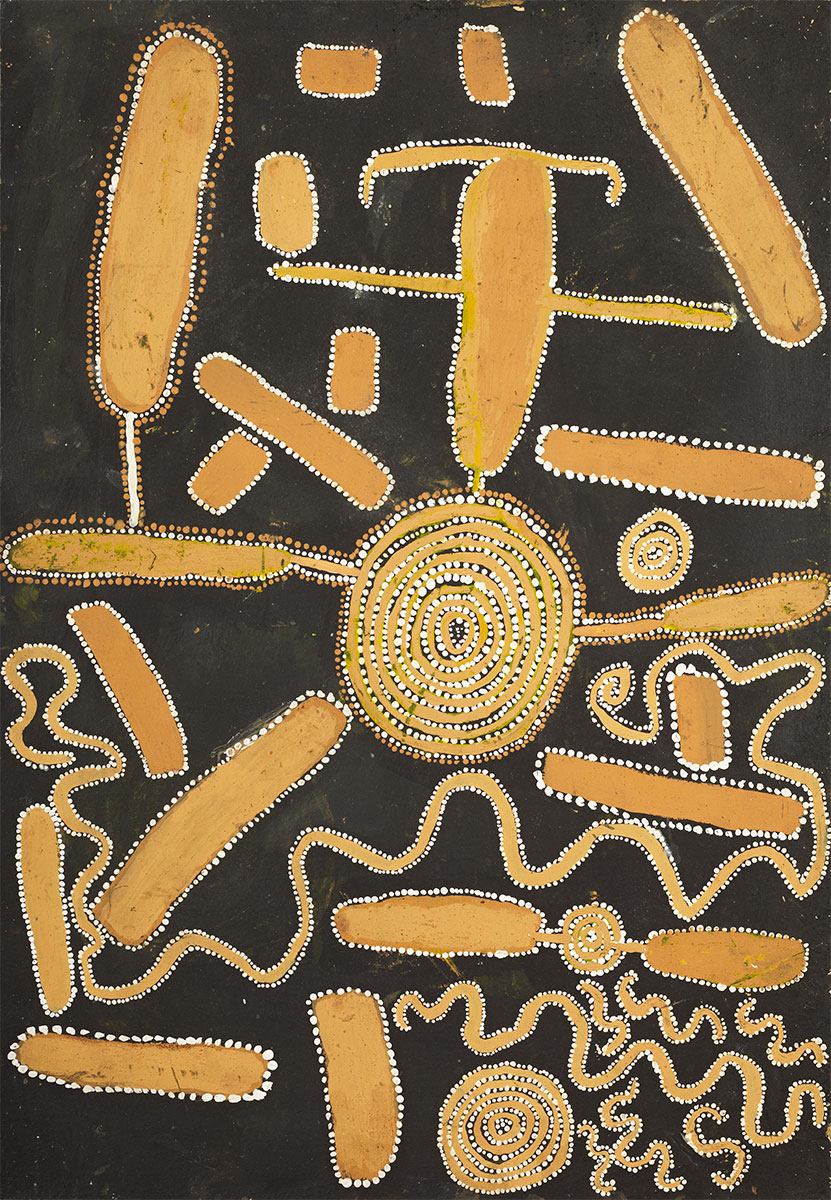 Snake Dreaming at Lampintjanya , 1972  Synthetic polymer powder paint on composition board 64 x 44cm  Provenance: Painted at Papunya during May-July 1972 Consigned 'unmarked' to the Stuart Art Centre, Alice Springs Tim Guthrie, Melbourne Sotheby's,  Important Aboriginal Art , Melbourne, 30 June 1997, lot 22 Private collection, Sydney  Exhibited:  Tjukurrtjanu: Origins of Western Desert Art , The Ian Potter Centre: NGV Australia, Melbourne, 30 September 2011 - 12 February 2012  Aux Sources de la Peinture: Aborigene , Musee du quai Branly, Paris, 9 October 2012 - 20 January 2013  Literature: Sotheby's,  Important Aboriginal Art , Melbourne, 30 June 1997, lot 22, p.24 (illus.). Geoffrey Bardon, and James Bardon, Papunya,  A Place Made After the Story: The Beginnings of the Western Desert Painting Movement , Melbourne: The Miegunyah Press, 2004, p.344, ptg.292 (illus.).