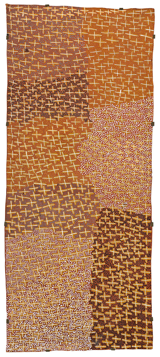Gan'yu , 2003    Natural earth pigments on eucalyptus bark 80 x 180cm   Provenance:  Buku-Larrnggay Mulka Centre, Yirrkala, Northern Territory (cat. no. 23690) Private collection   Exhibited:   20th Telstra National Aboriginal & Torres Strait Islander Art Award,  Museum and Art Gallery of the Northern Territory, Darwin, 16 August – 7 December 2003