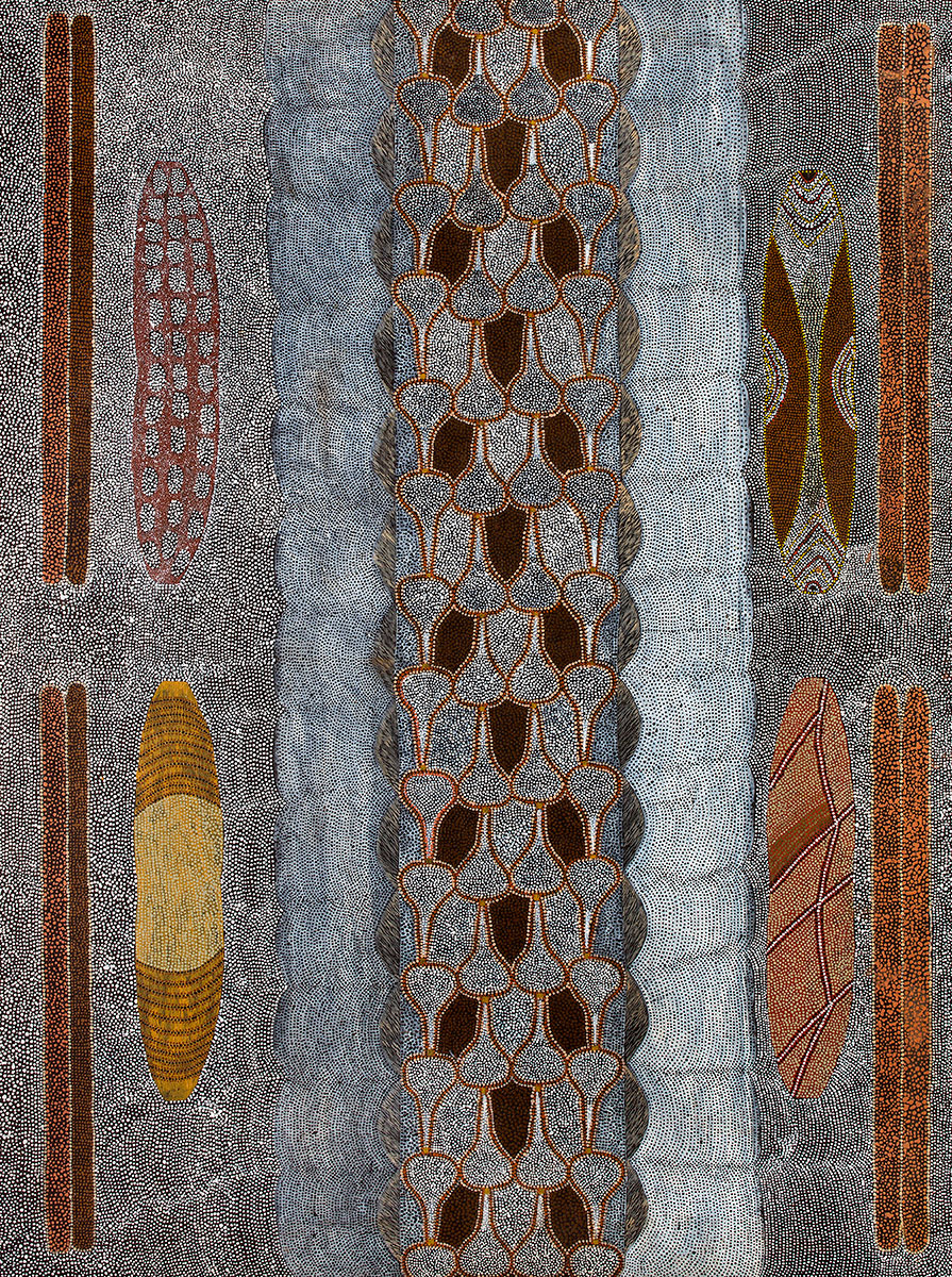 Untitled - Moorroo (Hunting Sticks), Garroona (Shields) and Snake Skin , 1989   Bears artist's signature, dimensions, Duncan Kentish catalogue number 078/89 and 'Commissioned by Duncan Kentish' on the reverse  Synthetic polymer paint on linen 137 x 101.5cm   Provenance:  Painted in Fitzroy Crossing, Western Australia in 1991 Commissioned by Duncan Kentish Duncan Kentish Fine Art, Adelaide Private Collection of the late Duncan Kentish, Adelaide  The four painted shields called  garroona  are employed in open ceremony and used whilst dancing. The skill of the performer is gauged by the extent of vibration in the shield. This is called igabayi.  The central panel is the underbelly skin of the junggurra snake (black head python). The white bands on the side of the scales are the fat from the snake. (Interpreted by Clayton Cherel and Edna Shaw in conversation with Karen Dayman, August 2014).  Cf. For a related work representing the concept of Igabayi see Igabayi, 1992 (PC 22/92) in the collection of the Marra Worra Worra Resource Agency, Fitzroy Crossing.