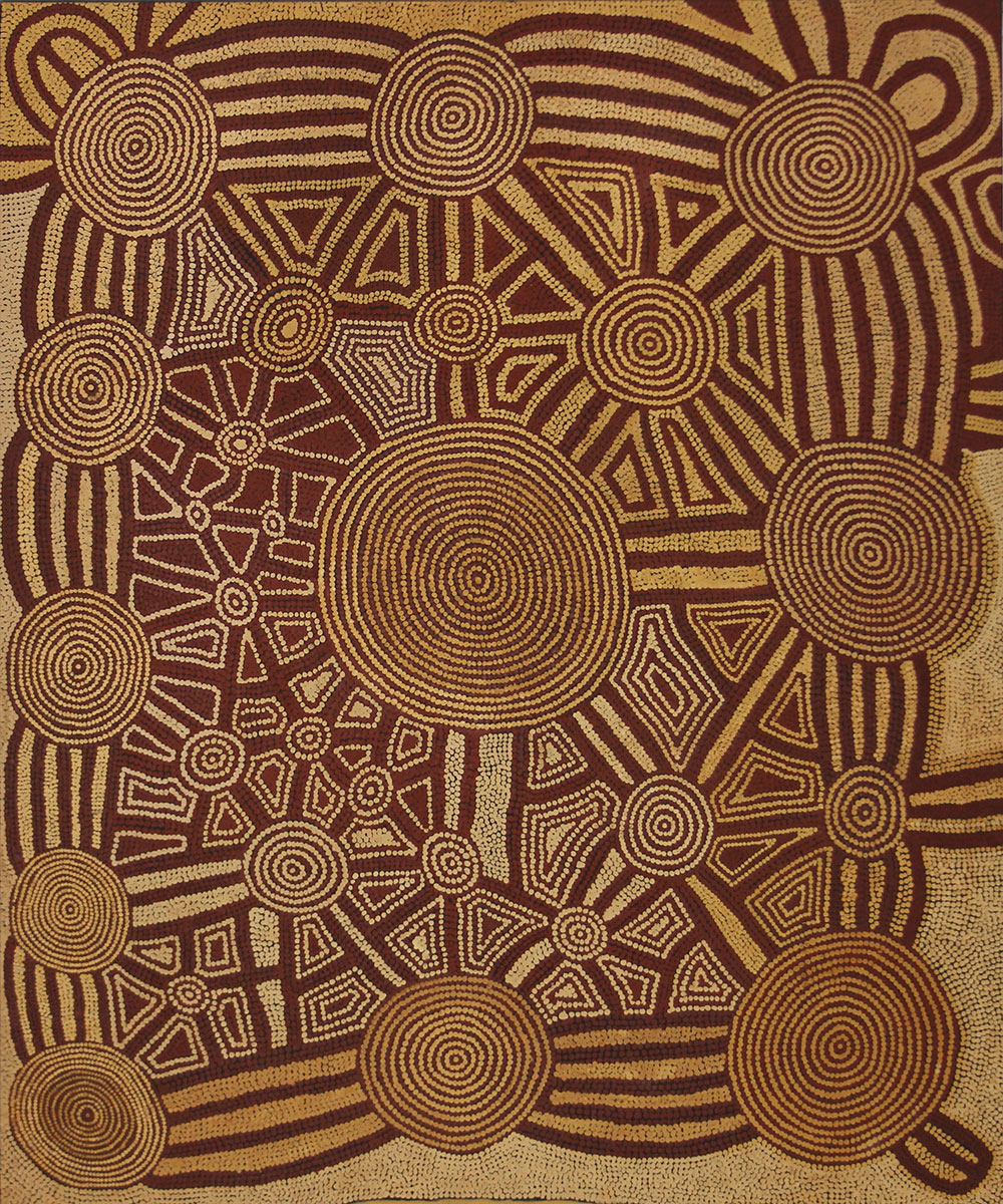 Untitled (Ngamurangya Rockhole and Cave Site) , 1984   Bears Papunya Tula Artists catalogue number TL840444 twice on the reverse  Synthetic polymer paint on linen 152.5 x 183cm   Provenance:  Painted at Kiwirrkura, Western Australia in 1984 Papunya Tula Artists, Alice Springs  (TL 840444) Private Collection, Adelaide  Cf. For other significant examples by the artist painted during the 1980s see  Two Men Dreaming at Kuluntjarranya , 1984 and 1983 in the private collection of John and Barbara Wilkerson, USA and Holmes à Court, Perth respectively (Hetti Perkins and Hannah Fink,  Papunya Tula: Genesis and Genius , Sydney: Art Gallery of New South Wales, 2000, pp.94 and 95);  Tingari Dreaming , 1986 in the private collection of the late Gabrielle Pizzi (R. Crumlin and A, Knight,  Aboriginal Art and Spirituality , Melbourne: Dove Publications, 1995, p.78) and  Warrmala the Serpent , 1986 and the Voice of the Moon, 1987 in Jennifer Isaacs,  Australian Aboriginal Paintings , NSW: Weldon Publishing, 1989, pp. 43 and 45 respectively.