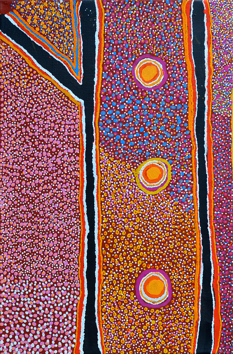 Kaningarra, 2002    Bears Warlayirti Artists catalogue number 431/02 on the reverse  Synthetic polymer paint on linen 90 x 60cm   Price: SOLD    Provenance:   Painted in 2002 at Billiluna, Western Australia Warlayirti Artists, Balgo Hills Private Collection