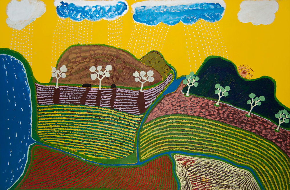 "Saltwater Country , 1988 (previous title,  Yellow Rain )  Synthetic polymer paint on canvas 164.2 x 247.5cm   Provenance:  Anthony Knight purchased directly from the artist at Ngukurr Private Collection   Solo Exhibition: Artist's Retrospective Exhibition:   Mother in Mind: The Art of Ginger Riley Munduwalawala , National Gallery of Victoria, Melbourne, VIC, 17 July – 22 September 1997   Group Exhibition:  Government House, Melbourne, VIC, 1993-1997   Literature:  Judith Ryan,  Mother in Mind: The Art of Ginger Riley Munduwalawala , Melbourne: National Gallery of Victoria, 1997, cover image and p. 48 (colour illustration) and p.29.    Saltwater Country,  1988  held a special place in Riley's heart. In fact, when it was returned from Melbourne's Gallery Gabrielle Pizzi in 1988 for not being 'exhibition worthy', instead of disposing of the work, the artist chose to treasure it under his bed. Many years later this exact work adorned the cover of the artist's retrospective catalogue at the National Gallery of Victoria, Melbourne. It finally achieved the recognition it deserved.  Created in the second year that the artist began painting with acrylics,  Saltwater Country  was one of Riley's first heroic landscapes capturing his Mother's Country for which he was caretaker. This area around Limmen Bight and the Limmen Bight River in the Northern Territory of Australia includes the land formation, the Four Archers located approximately 55 kilometres inland as well as the Maria and Beatrice Islands at the mouth of the River. Almost as a homage to his mother, Riley represents her in  Saltwater Country  as the cloud and the sun which lights up the sky. [ 1 ]   The vastness in the topography of this country is captured in  Saltwater Country,  1988. In the 1997 retrospective catalogue, Curator Judith Ryan states, ""To the left is the coastal salt water flowing into the mouth of the Limmen Bight River, which flows through mudflats, broadening and narrowing in a winding course through Mara Country until it reaches Barrkuwirriji, the ravine in the middle of the Four Archers. The Limmen Bight River, like a clear, blue, undulating Ribbon from the air is a dramatic visual accent in much of Riley's work, serving to anchor it on his mother's country. A previous title for the painting,  Yellow Rain , indicates the most striking features of the wet season composition: a bright yellow sky heavy with a build-up of blue rain clouds and drops of rain.""[2]   Yellow rain  was a working title Judith Ryan gave the painting for the retrospective. While Riley initially accepted the name, he decided to retitle it  Saltwater Country  because he felt it was milestone work depicting country and he wanted to assert the significance of what was being represented.  [1] Beverly Knight,  Biography of Ginger Riley Munduwalawala , 2018. According to Beverly ""…the artist's mother is the cloud and the sun, and his paintings often depict heavy rain-filled clouds or fine rain and bright sunlight, his creation story.""  [2] Judith Ryan,  Mother in Mind: The Art of Ginger Riley Munduwalawala , Melbourne: National Gallery of Victoria, 1997, p.29."