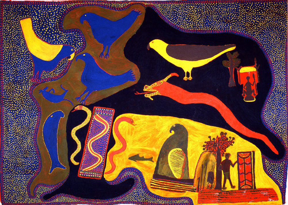 Mara Country , 1988  Synthetic polymer paint on canvas 185 x 260cm   Provenance:  Gallery Gabrielle Pizzi, Melbourne Private Collection   Solo Exhibition: Artist's Retrospective Exhibition:   Mother in Mind: The Art of Ginger Riley Munduwalawala , National Gallery of Victoria, Melbourne, VIC, 17 July – 22 September 1997   Group Exhibition: Artist's second   group show :  Ngukurr , Gallery Gabrielle Pizzi, Melbourne in conjunction with Open College Tafe (via Katherine), 1988   Aboriginal Art and Spirituality , High Court & Parliament House, Canberra February 27-March 14 1991; Exhibition Gallery, Waverley Centre, March 24- May 5 1991; The Ballarat Fine Art Gallery, Ballarat, May 24- July 1991.   Porta Oberta al Dreamtime: Art Aborigen Contemporani d'Australia  (Open Door to Dreamtime, native Contemporary Art of Australia), 1971-2003,   Fundació Caixa de Girona, Girona, Spain, 24 September - 14 November 2004, Fundació Caixa de Terrassa, Barcelona, Spain, 20 November 2004 - 9 January 2005.   Literature:   Judith Ryan,  Mother in Mind: The Art of Ginger Riley Munduwalawala , Melbourne: National Gallery of Victoria, 1997, p.50 (colour illus.). Rosemary Crumlin,  Aboriginal Art and Spirituality , North Blackburn: Collins Dove, 1991, cover image, p. 94, p.94-95 (colour illus.) G. Planella. (ed.),  Porta Oberta al Dreamtime: Art Aborigen Contemporani d'Austràlia , 1971-2003,  Fundació Caixa de Girona, 2004.    Mara Country,  1988  is considered one of Riley's most significant masterworks, positioning him as one of Australia's great contemporary artists.  The early example of heroic scale tells or recreates the artist's entire story for which he is responsible – his mother's country around the Limmen Bight and Limmen Bight River in the Northern Territory of Australia.  While the painting is sacred and therefore, layers of the story remain secret, there is much we can decipher. In one painting, Riley has drawn together many of the vibrant icons of his country: Bulukbun the fie