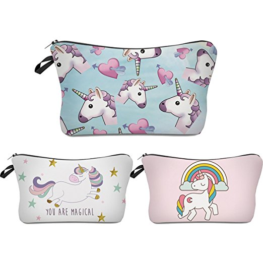 3 Pc Unicorn makeup zipper pouch set