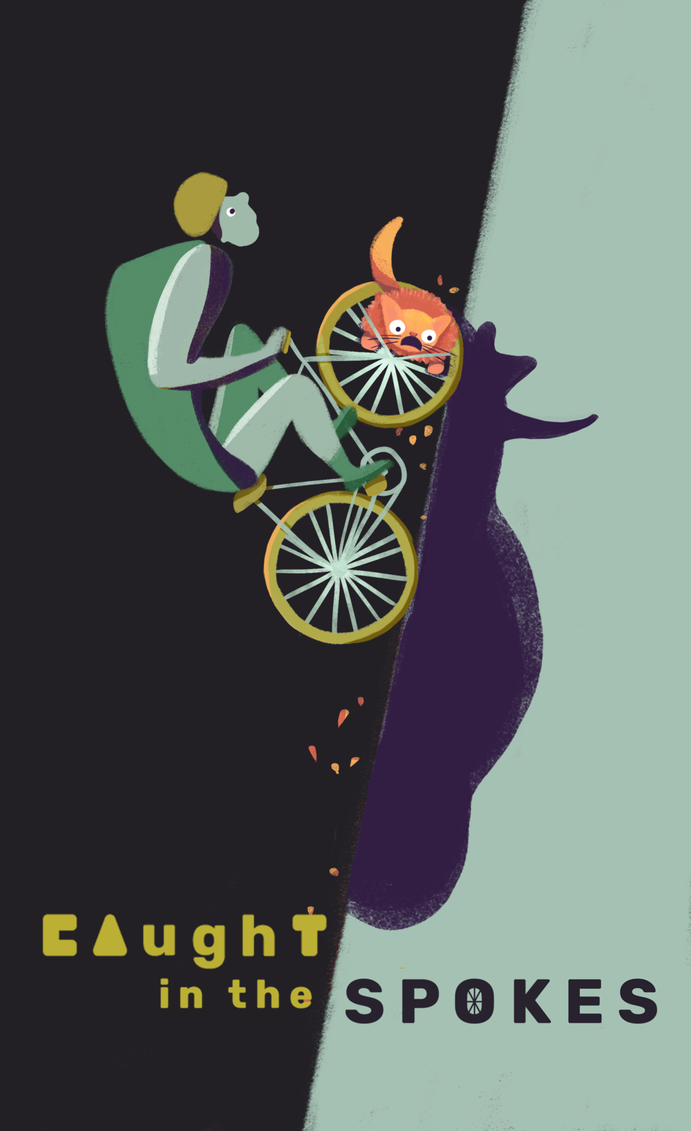 The composition direction works in creating balance, so I refined details and made the artistic style and textures more consistent throughout the poster.  • To indicate and emphasize the collision of stories (bike + cat), we relocated the cat to the front spokes. • To make the illustration more expressive and light-hearted, I added eyes on the biker. This also reduces the intensity and emphasis on the intense biking, and rather, helps highlight the absurd nature of the situation.