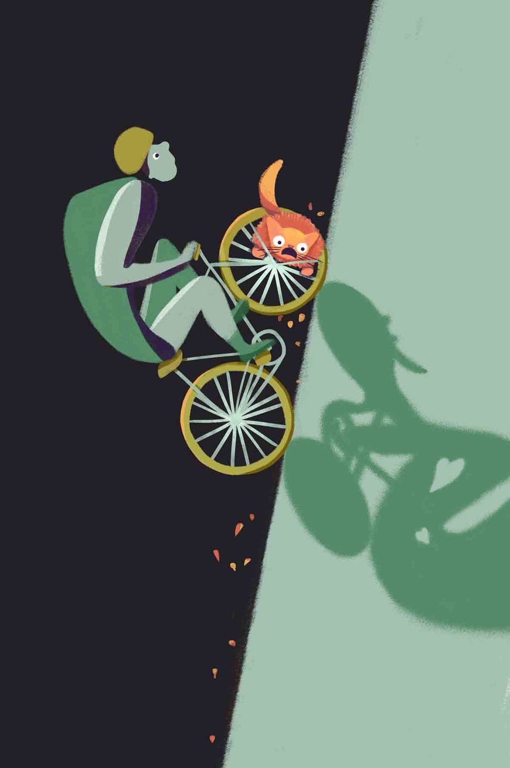 The final illustration I made, incorporating a whimsical feel and colours from the logo.  Since the story centres around the unintentional and chaotic collision of the two lovers' lives, we decided, for the movie poster, to create an illustration of a collision between a biker and cat, with the cat caught in the spokes of the bike.  The poster draws viewers to the orange cat and bike collision.