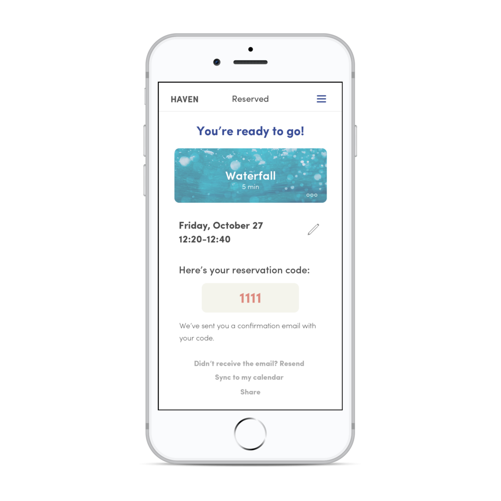 Confirmation page; users also see the reservation code to use the meditation room.