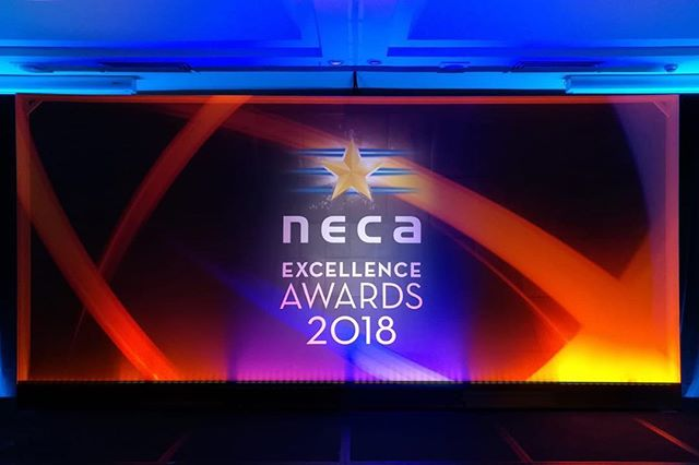 Tri-level, semi-transparent backdrop for the NECA Awards in Canberra tonight