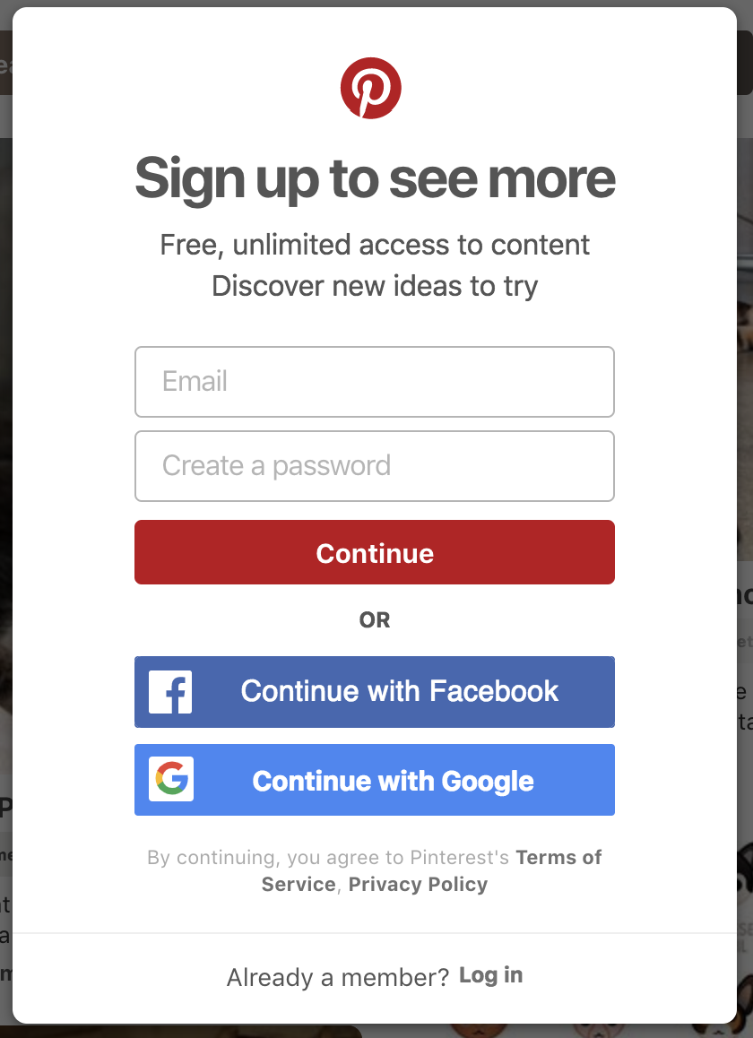 "On this modal alone, we tested at least 6 parts: ""Sign up to see more"", ""Free, unlimited access.."" ""Continue"", ""Continue with Facebook"", ""Continue with Google"", ""Already a member? Log in"". Copy testing must be a part of every growth strategy because it is a constant source of low cost, high impact wins."