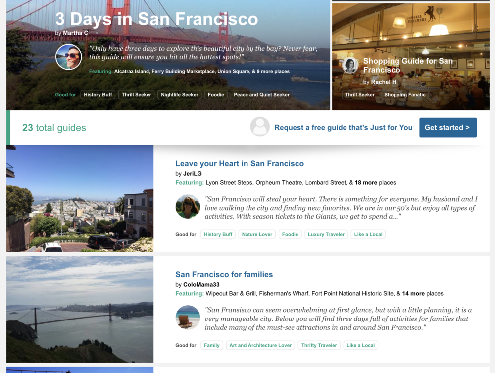 Tripadvisor aggregates top user reviews into guide pages