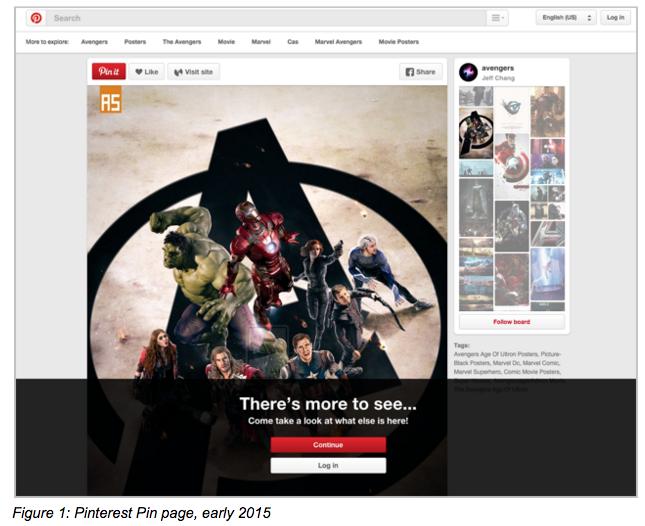 Pinterest pin page, 2015