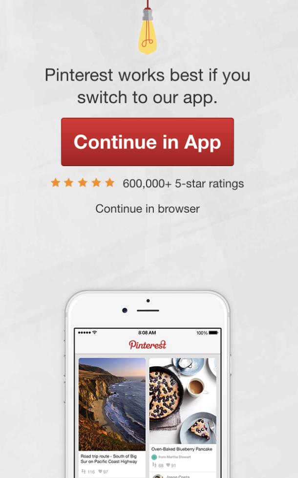 - Old Pinterest mobile web app interstitial