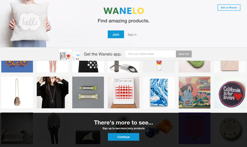 Old Wanelo signup upsell