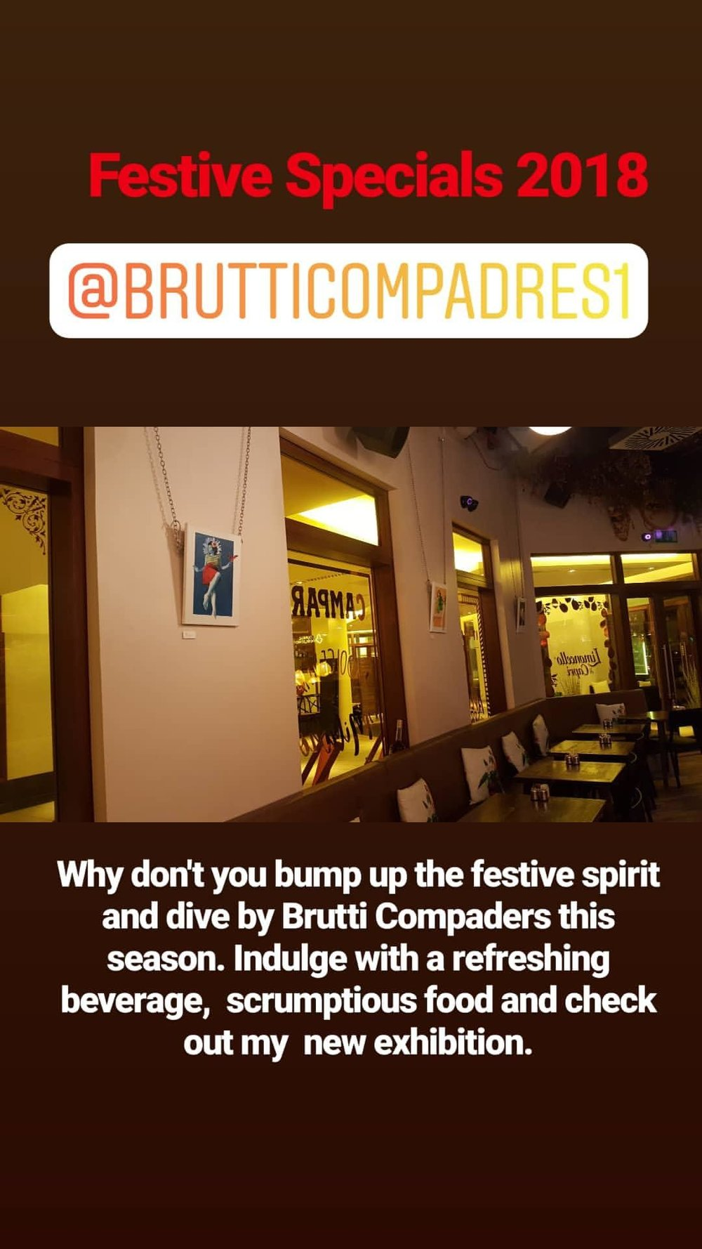 Festive Specials: Daria Zapala - This winter season a selection of my works is adorning Brutti Compadres Platos Pequenos restaurant.BRUTTI COMPADRES, 3 VIRGINIA COURT, GLASGOW | 0141 552 1777 | BRUTTICOMPADRES@HOTMAIL.COM