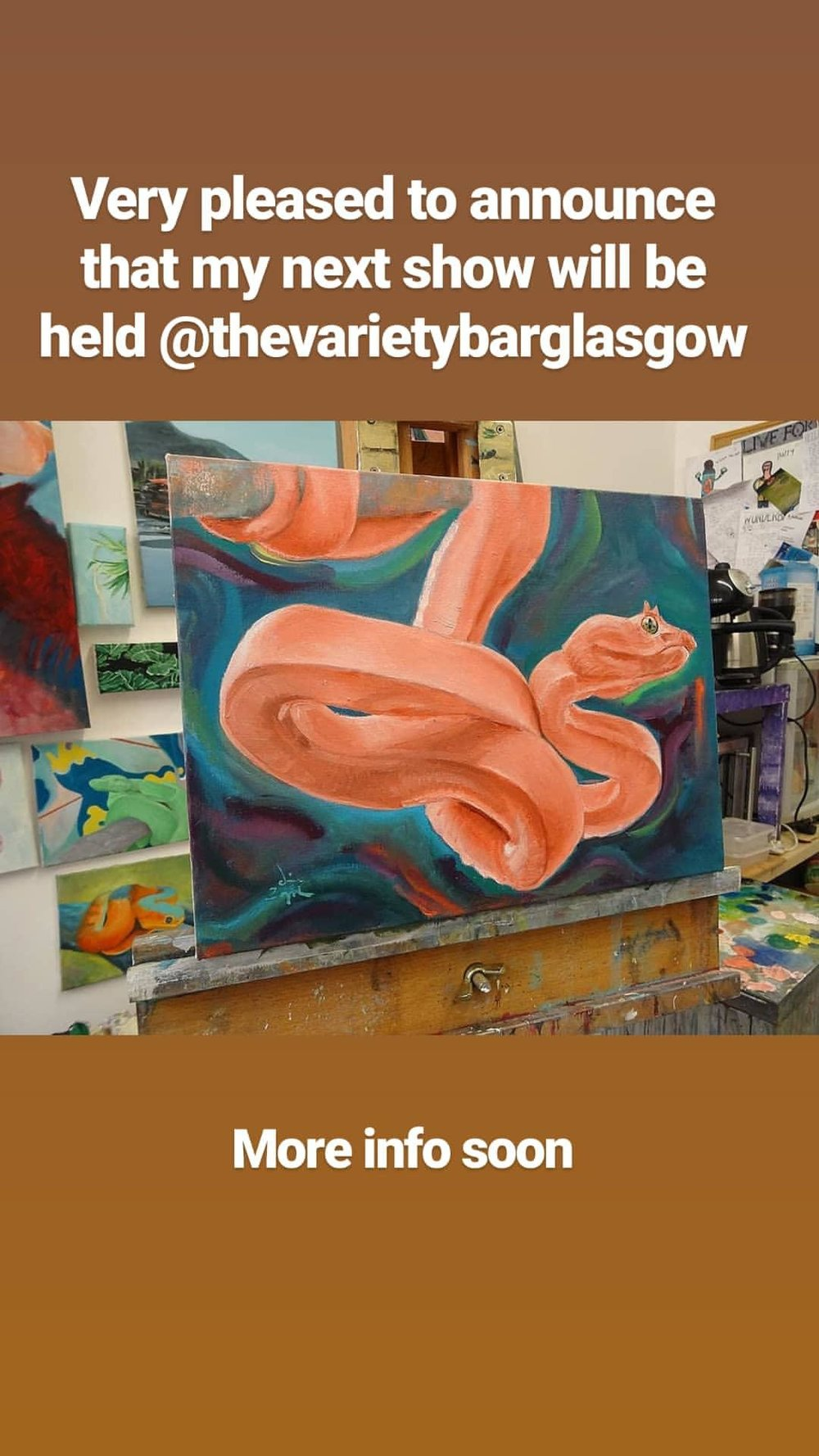 Primavera - I am pleased to announce that my new show will be held at The Variety Bar, Glasgow. This will be a solo exhibition celebrating coming into a new season.Opening night Thursday 21st march 2019 Exhibition running dates: 22nd March 2019 - 22nd April 2019The Variety Bar 401 Sauchiehall Street, Glasgow