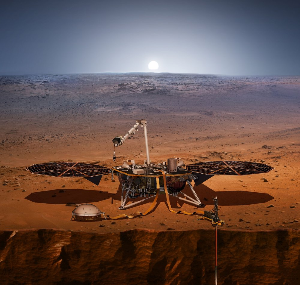 llustration of NASA's Interior Exploration using Seismic Investigations, Geodesy and Heat Transport (InSight) Image : NASA