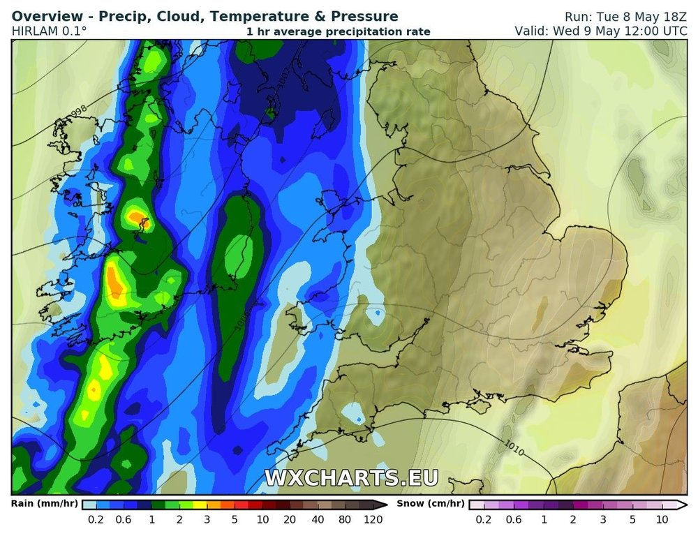 Rainfall at 12pm Wednesday morning from the HI res HIRLAM model from wx Charts