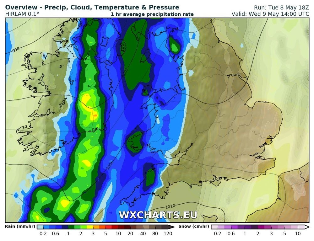 Rainfall at 2pm Wednesday morning from the HI res HIRLAM model from wx Charts