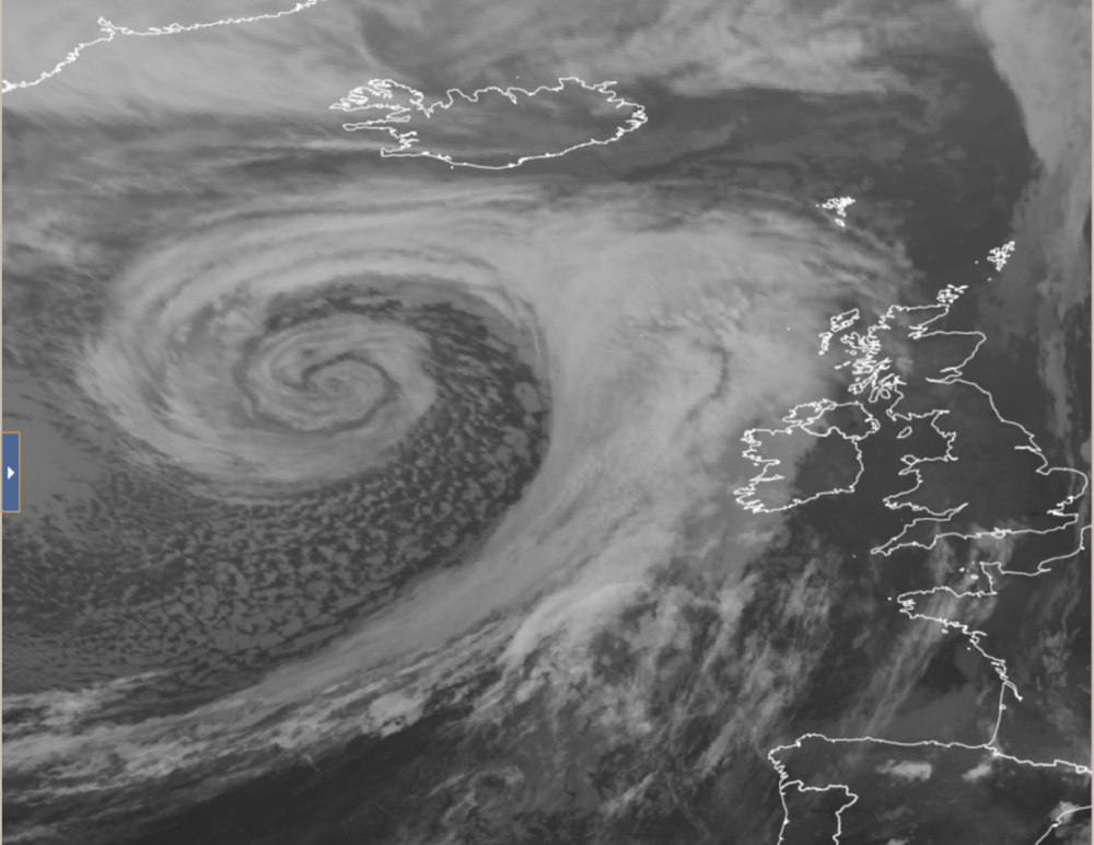 Impressive view of a vortex of the coast of Ireland this morning which has formed on the area of low pressure
