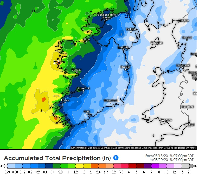 Latest model runs showing heavy rainfall on Sunday from the ECMWF weather model.