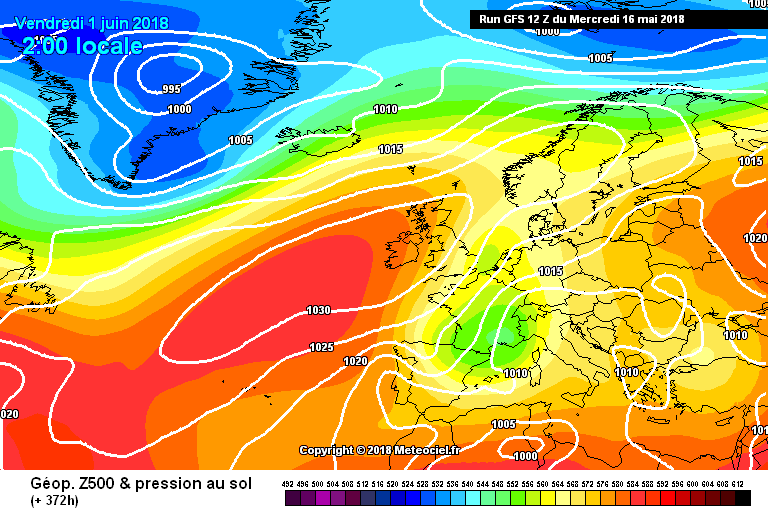 Latest GFS showing high pressure for the end of the month into june with warmer air from the Azores.