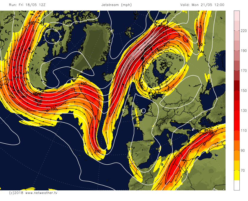 The Jet stream early next week wrapping around a upper High over Scandinavia, Chart from Net Weather Tv