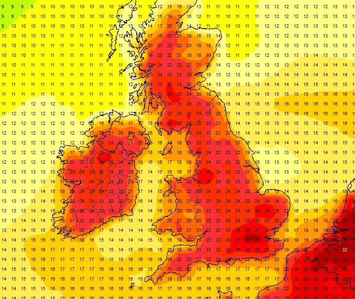 Latest GFS chart for the bank holiday showing showen temperature in the low 20s to mid 20s possible – image from the GFS net weather model