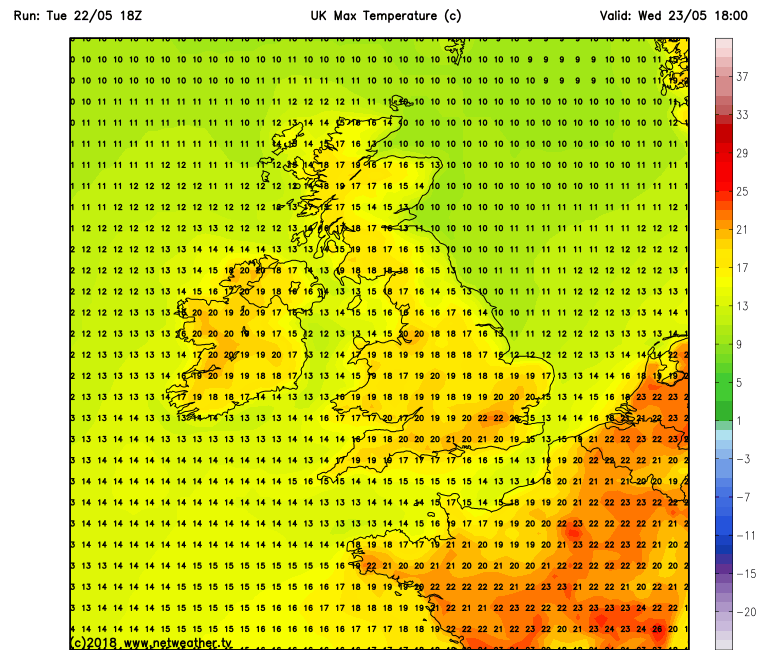 Temperatures over Ireland Wednesday